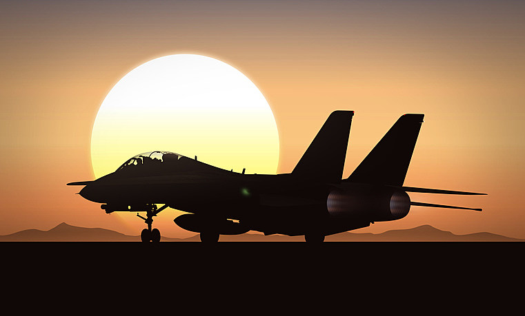 Jet Fighter in Sunrise