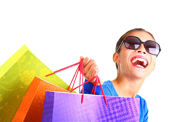 Laughing woman shopping