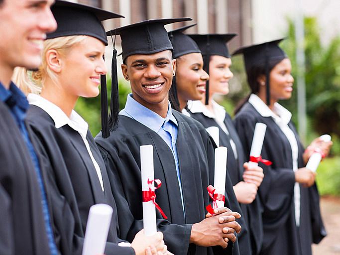 multiracial university students graduation