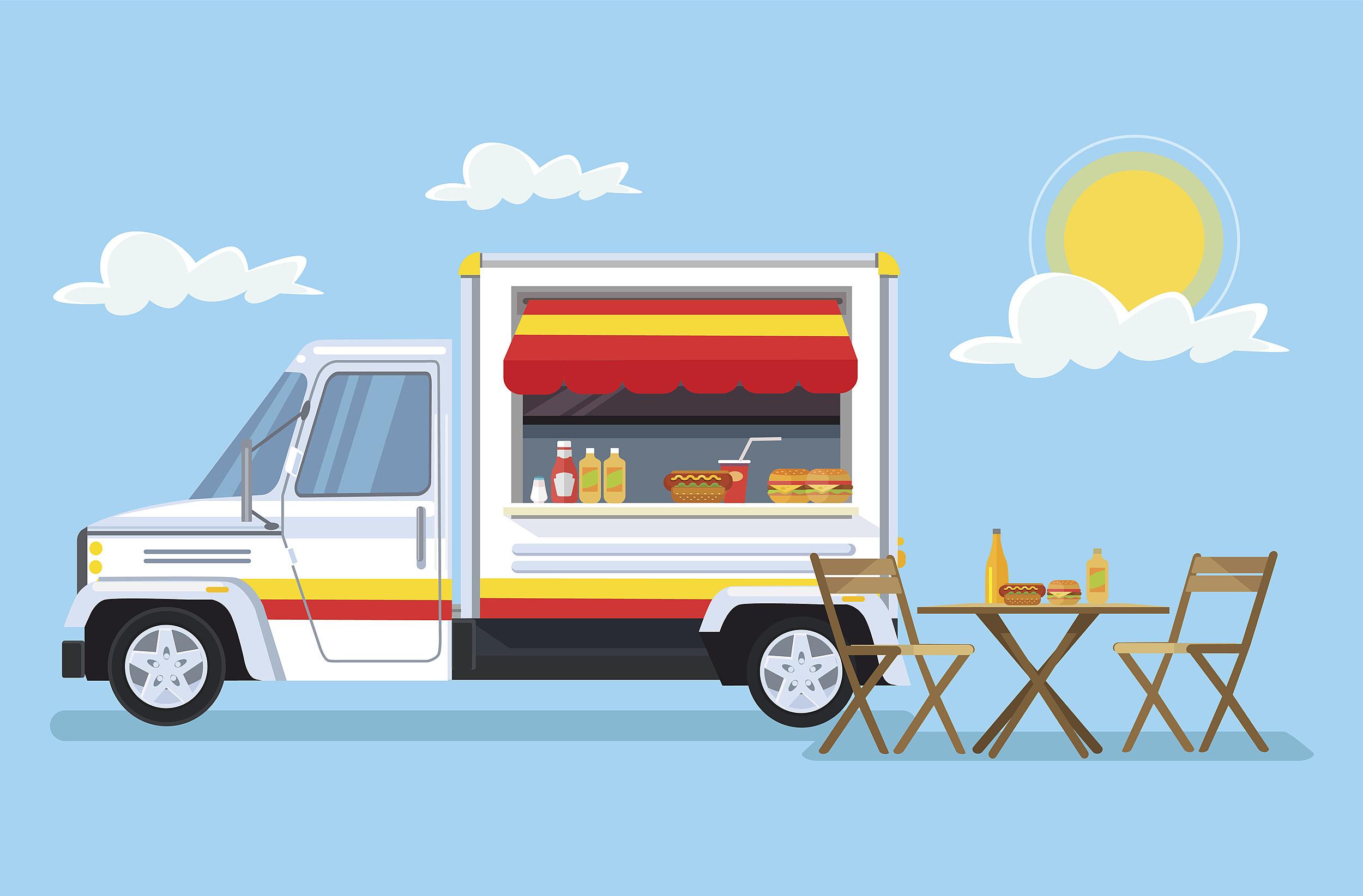 Street food car. Vector flat cartoon illustration